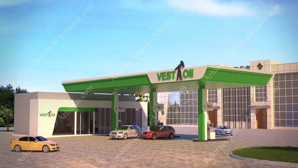 Проект и 3D-визуализация АЗС Одесса (Веста)